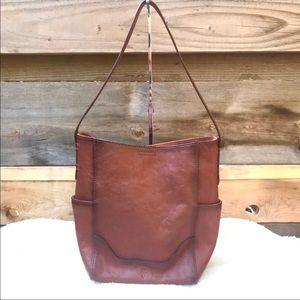 Frye Leather Side Pocket Hobo Bag Cognac NWT Purse